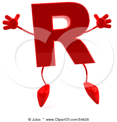 54626 Royalty Free RF Clipart Illustration Of A 3d Red Letter R With A
