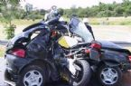 Motorbike making love with a  car