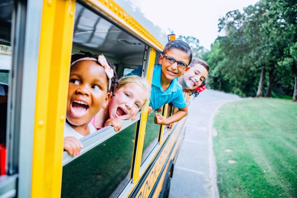 kids leaning out of school bus windows field trip� ... (Click to enlarge)