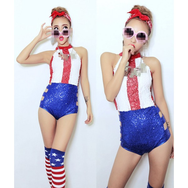 red white striped royal blue patchwork sequins wo� ... (Click to enlarge)