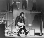 chuck berry b 1926 on stage playing everett