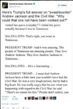 SALENA ZITO TRUMP INTERVIEW on ANDREW JACKSON TWEET