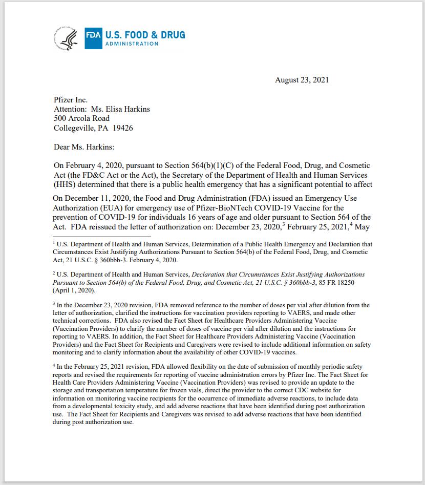 FDA LETTER to Pfizer s ELISA HARKINS 1