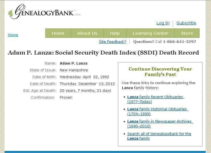 Adam Lanza Death Certificate