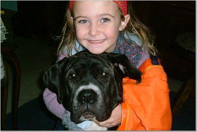 Lakota Mastino puppy with princess Aurora