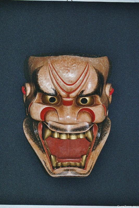 Noh traditional japanese hand carved wooden masks on